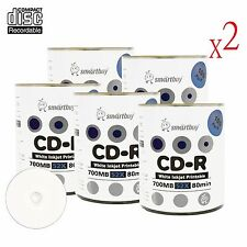 1000 Pcs Smartbuy Grade A+ CD-R 52X 700MB White Inkjet Hub Printable Record Disc