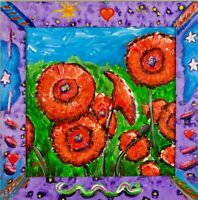 Poppies Painting Pop Art Style Artist Signed Mira Wood Painted Frame COA