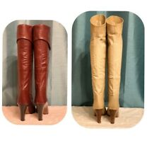TWO PAIRS VINTAGE Butter LEATHER tall TAN + Burgundy Knee BOOTS ITALY size 35/5
