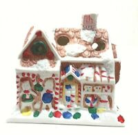 Vintage Bisque Porcelain Gingerbread House Candy Cane Holder With Box