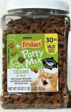 1 Jar Purina Friskies 30 Oz Party Mix Treasure Crunch Real Whitefish Cat Treats