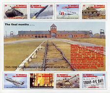 St Vincent & Grenadines 1995 MNH WWII VE Day 50th 8v M/S Aviation Tanks Stamps