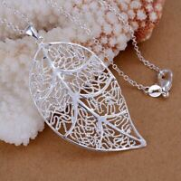 *UK Shop* 925 SILVER PLT HOLLOW FILIGREE LARGE LEAF PENDANT NECKLACE AUTUMN FALL