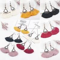 Boho Vintage Fan Dangle Drop Tassle Fringe Trendy Fashion Hook Earring