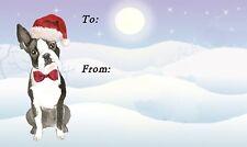 Boston Terrier Dog Christmas Labels No. 2. design by Starprint