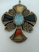 Vintage MIRACLE Pendant Agate Glass Gold Tone Large Scottish Celtic Cross
