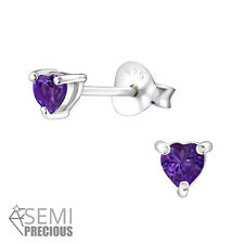 925 Sterling Silver Amethyst Gemstone Heart Stud Earrings (Design 4)