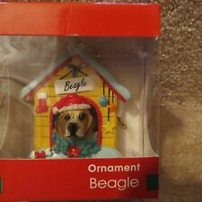 Dog with Santa Hat in a House Ornament - Beagle