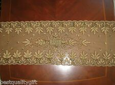 """NEW TABLETOPS BROWN,AMBER BEAD+SEQUIN FLORAL FANCY TABLE RUNNER-16"""" x 72"""""""