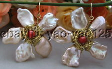 Pink  Keshi Pearl Jade Earrings-Gold  Plated Hook