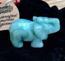 Genuina Verde Jade Lucky Elefante Figura-Piedras Preciosas Cristal Curativo