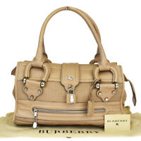 Authentic BURBERRY Logos Shoulder Bag Leather Padlock Beige Italy 05MA750