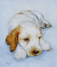 Original Oil painting - portrait of a cocker spaniel puppy / dog  - by j payne