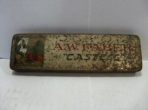 Vintage A W Faber Castell metal pencil box with assortment of six pencils