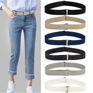 Invisible Belt Flat Buckle Elastic Waist Belt No Show Women Belt Adjustable Size