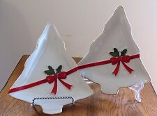 Set of Two Christmas Tree Shape Candy Plates/Serving Dishes