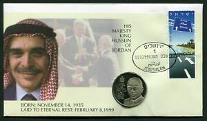 Jordan King Hussein 1936-1999 CuNi BU Medal in Cover from Israel