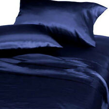 New Silk Feel Polyester Satin Lingerie Bed Sheets Set QUEEN SIZE - NAVY BLUE
