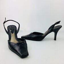 Linea Paolo High Heels Pumps Square Toe Black Shoes Womens Sling Back Bow 11