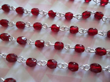 4mm Garnet Red Bead Chain - Silver Rosary Chain - Czech Glass - Qty 18""