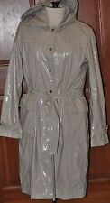 CALVIN KLEIN WOMEN'S PVC VINYL TRENCH COAT SIZE LARGE SILVER / CREAM / PEARL