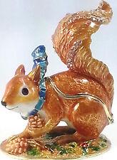 Eichhörnchen Schal Tannenzapfen Figur Sammlerstück Schmuckschatulle Pillendose