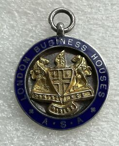 LONDON BUSINESS HOUSE A.S.A STERLING SILVER & ENAMEL MEDAL FOB (LAWN TENNIS)