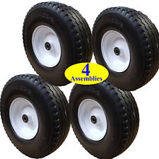 4) 4.00-6 FLAT FREE TIREs RIMs 5/8 BEARING for Yard Cart Karts Lawn Wagon Dolly