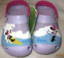"NWT **CROC'S**  3D Minnie Mouse ""MAKIN WAVES"" Youth Girls Lavender/Fuchsia, J 2"