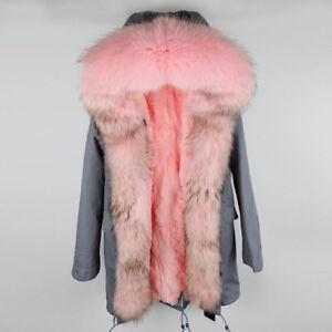 Womens Real Raccoon Fur Collar Hood Coat Rabbit Liner Long Jacket-Christmas Gift