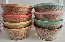 8 Vintage Raffiaware Melmac Cereal Bowls Straw Weave Burlap Design Retro