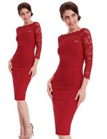 Goddess Red Scallop Lace Fitted Wiggle Marcella Cocktail Evening Party Dress
