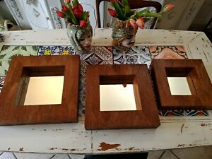 Set 3 Mirrors Coated Of Leaves, Made IN Indonesia