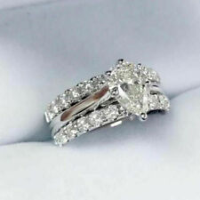 pear shape&Lab-created Diamond Ring Engagement Ring 14K White Gold 1.00 CT
