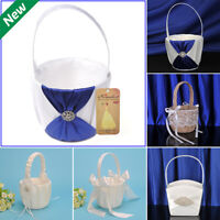 New Flower Girl Basket Romantic Satin Lace Bowknot Wedding Ceremony Party Basket