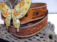 Butterfly Enamel Belt Buckle on Hand Tooled Snap Brown Leather 31 32 33 34 35