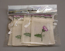 6 New Thistle Embroidered Scottish Wedding Favour Bags ZC30