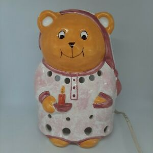 Piggery Pottery Vintage Teddy Lamp Night Light Children's Bedroom Pink Bear RARE