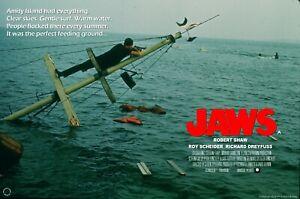 """JAWS 1975 huge custom quad poster 30x40"""" Roy Scheider CINEMA POSTER BRODIE"""
