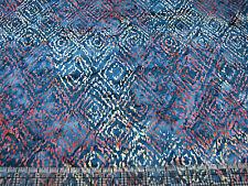3 Yards Cotton Fabric - Timeless Treasures Tonga Batik Rust Tan Diamonds Teal