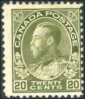Canada #119 mint F OG H 1925 King George V 20c olive green Admiral CV$60.00