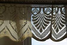 Lena Vintage lace cafe curtain Cream scalloped cotton lace window valance briseb