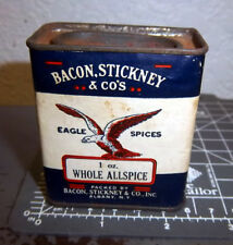 Vintage Bacon Stickney whole ALLSPICE 1 oz spice tin, Great graphics & colors