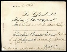 Bourgeoisie.Noblesse. officier . carte d'invitation. le colonel Favarcq