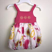 Baby Nay Girls Size 24 Month Bubble Dress Pink Yellow Sleeveless Cotton Flowers