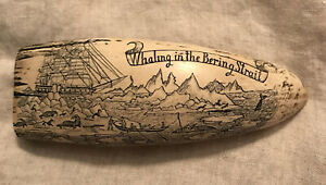 Vintage Faux Resin Scrimshaw The Ship Mary In The Arctic- Whaling In The Bering