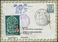 Austria 1962 Christmas Christkindl Balloon Post Cover Signed #C18341