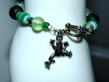 Mixed Gemstone with Silver Frog Charm Bracelet