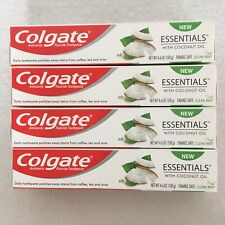 4x Colgate Essential Toothpaste With Coconut Oil 4.6oz Each New