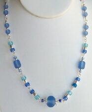 Custom Cultured Beach Glass Necklace ~~Blue/Turquoise~~19 Inch/2 Inch Extender